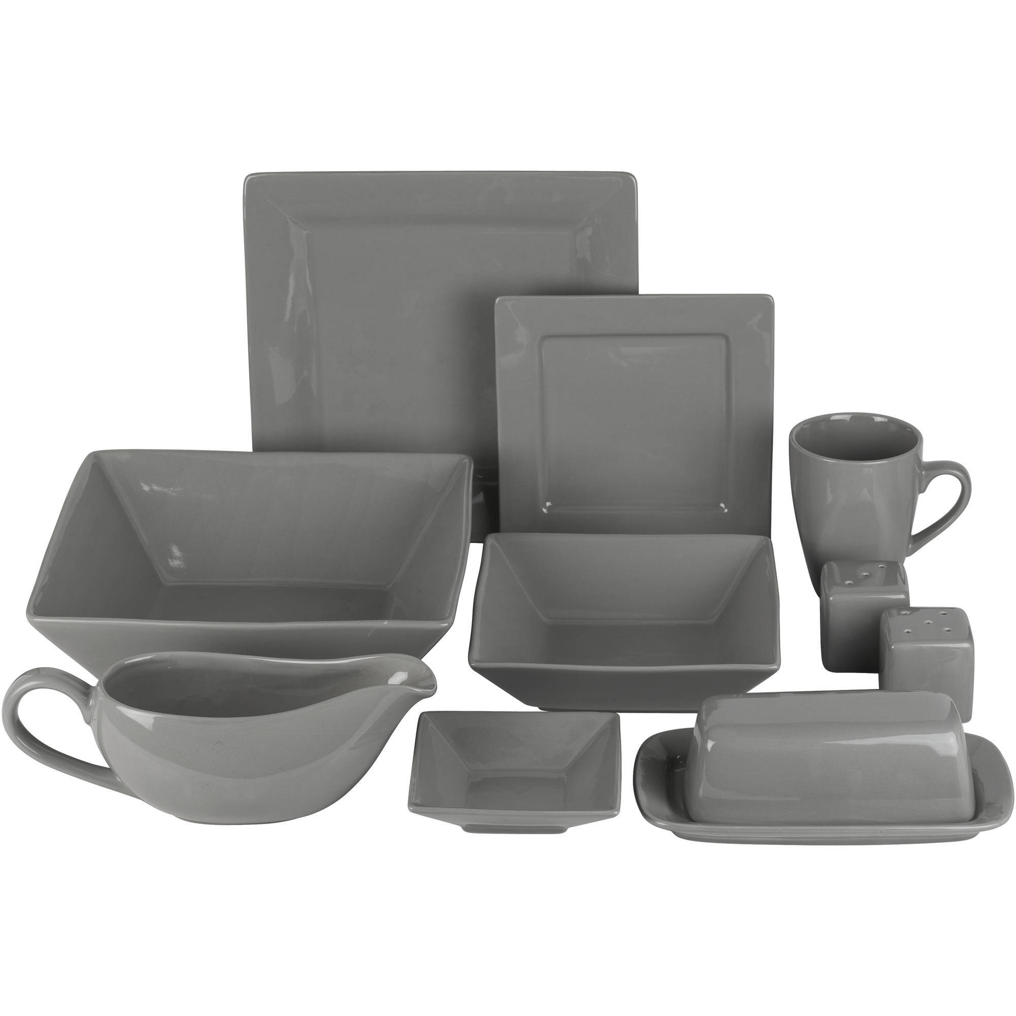 Nova 24-Piece Square Dinnerware Set Plus 10 Bonus Serving Pieces
