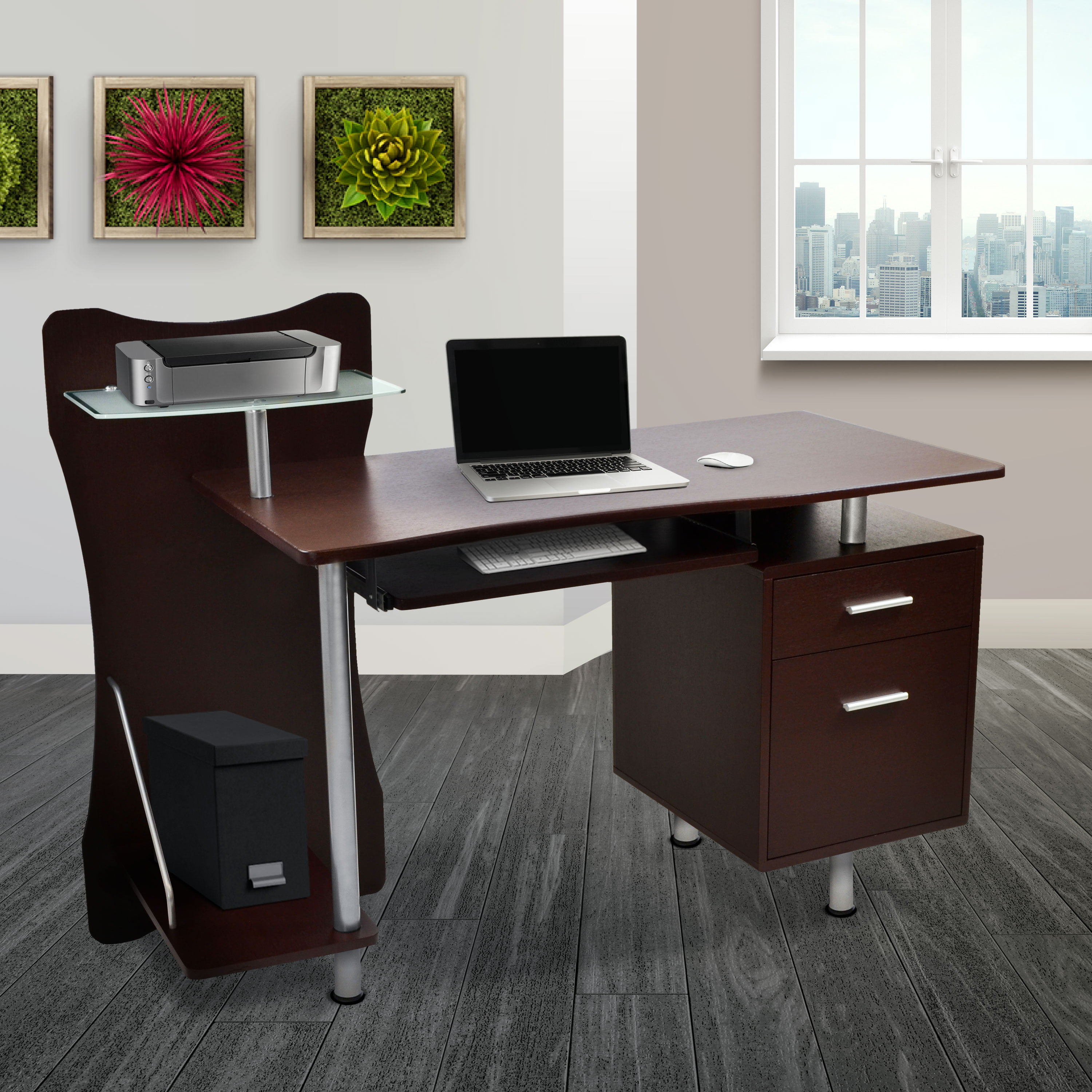 Techni Mobili Stylish Computer Desk With Storage Chocolate Rta 325 Ch36 Walmart Com Walmart Com