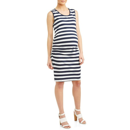 Maternity Stripe Sleeveless Knit Dress - Available in Plus Sizes