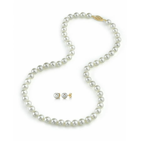 Cultured Pearl Pearl Brooch - 14K Gold 6.0-6.5mm White Akoya Cultured Pearl Necklace & Matching Earrings Set, 18