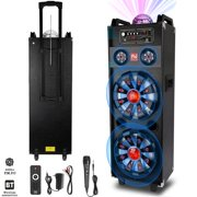 """Dual 10"""" Subwoofer Portable Bluetooth Party Speaker Tailgate Wireless DJ PA Karaoke LED Light System With Microphone AUX"""