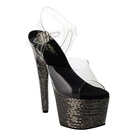 afef45f7dbe Pleaser - PLEASER BEJEWELED-708MR Women s Rhinestone   Stone Ankle Strap  Platform Sandals - Walmart.com