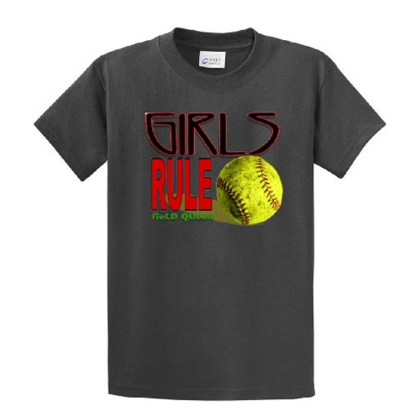 Softball T-Shirt Girls Rule Field Queen-charcoal-xxl