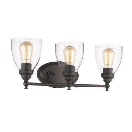 CHLOE Lighting ELISSA Transitional 3 Light Rubbed Bronze Bath Vanity Light Clear Glass 23