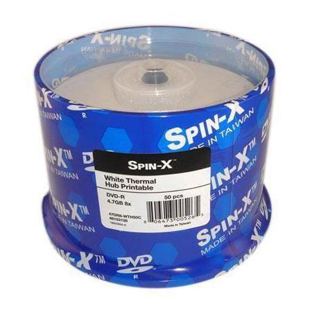 50 Spin-X 8X DVD-R 4.7GB White Thermal Hub