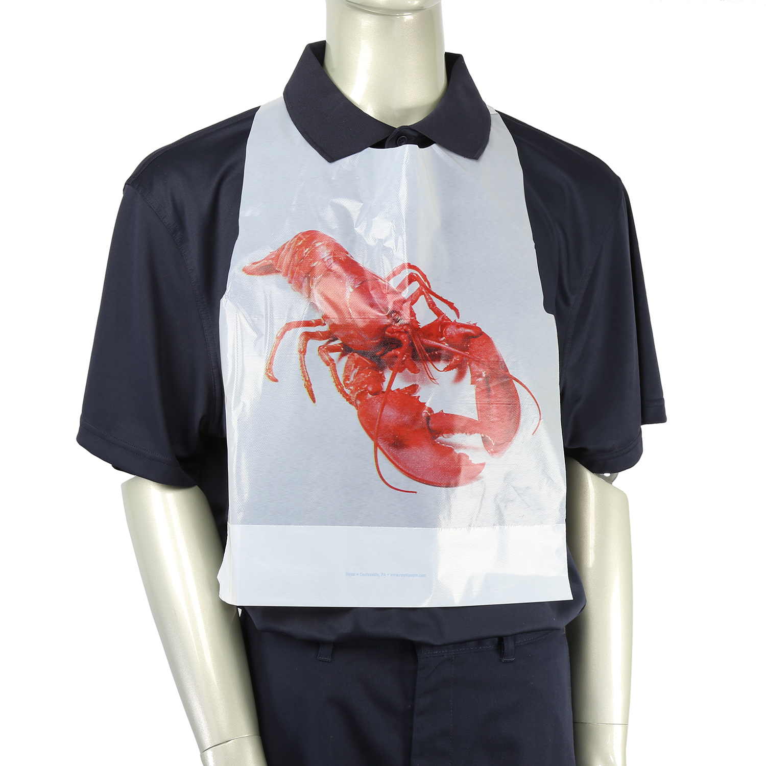 Royal Adult Poly Bibs with Lobster Design, Case of 2,500
