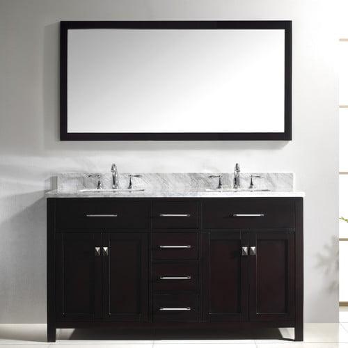 Virtu Caroline 60'' Double Bathroom Vanity Set with Carrara White Stone Top and Mirror