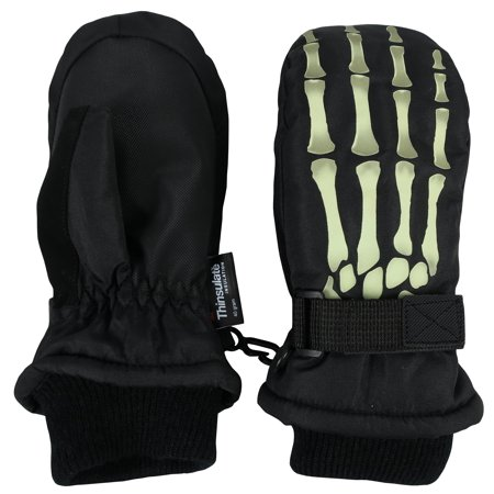n'ice caps kids glow in the dark skeleton print thinsulate waterproof mittens (8-12 years, black) - Black Skeleton Gloves