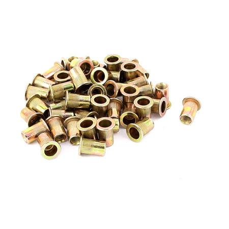 Uxcell 6mm Thread Dia. 15mm Long Metal Rivet Nut Insert Nutsert Gold Tone (50-pack) - image 1 de 1