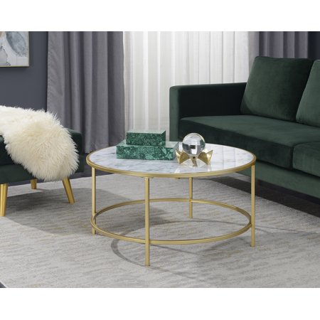 Convenience Concepts Gold Coast Faux Marble Round Coffee - Cherry Finish Marble Coffee Table