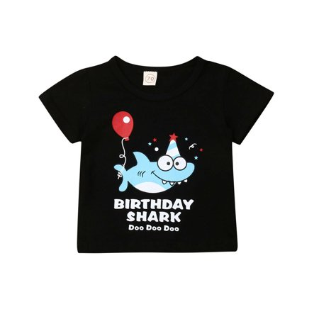 Toddler Newborn Kids Baby Girl Boy Tops Shark print Tee Shirt Cotton Clothes