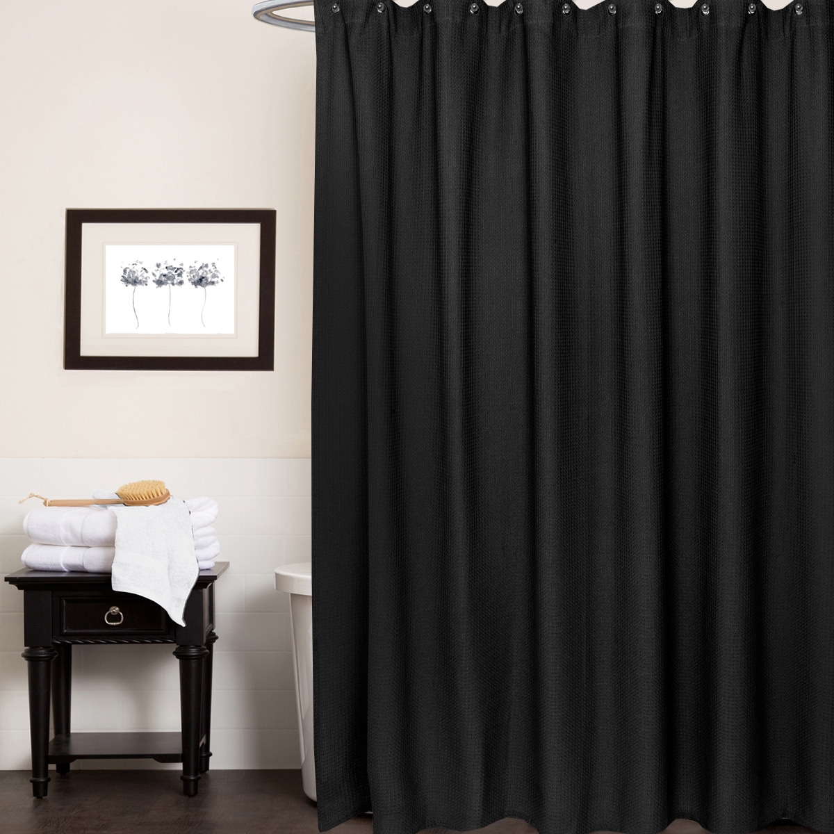 bed bath n more Waffle Weave Cotton Shower Curtain