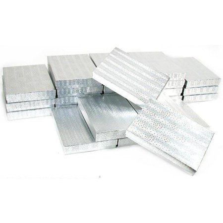 Omega Silver Jewelry Box - 25 Silver Cotton Boxes Omega Necklace Jewelry Gift Displays 7 1/8