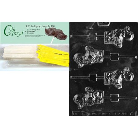 Cybrtrayd 45StK25Y-E079 'Duck Lolly' Easter Chocolate Candy Mold with Lollipop Supply Bundle, Includes 25 Lollipop Sticks, 25 Cello Bags, 25 Yellow Twist Ties and Instructions