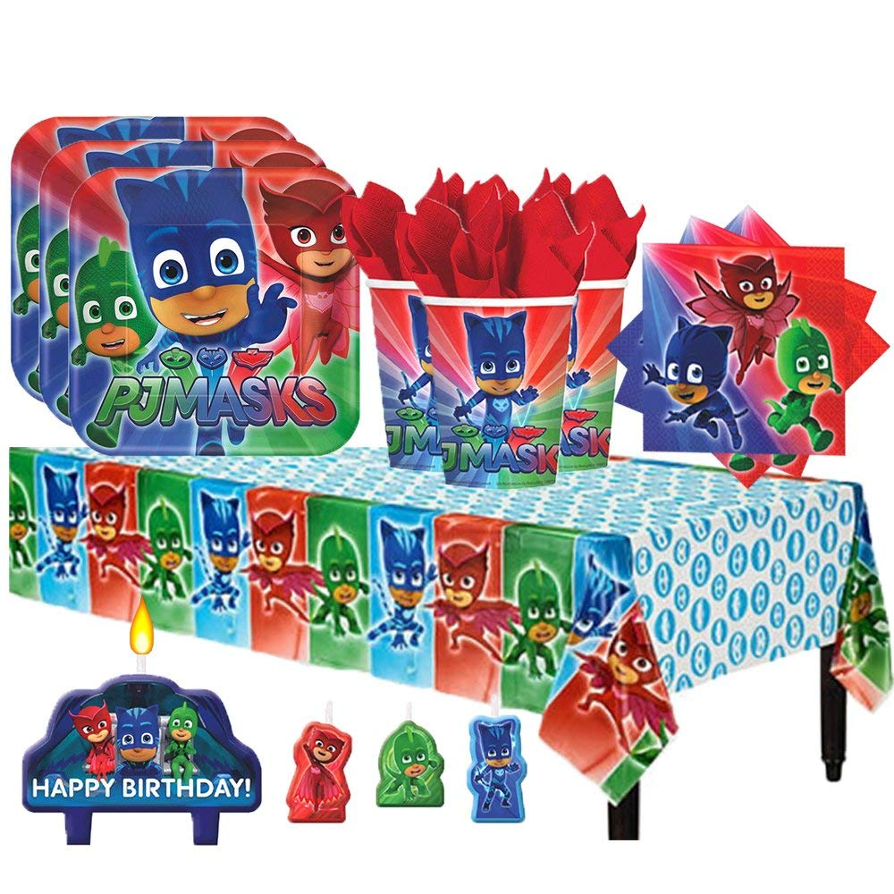 PJ Masks Party Supplies Pack for 16 with Candles