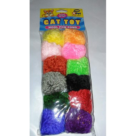 12-pack Wool Pom Poms-Infused with Catnip-Active cat-kitten Toys, XPet By