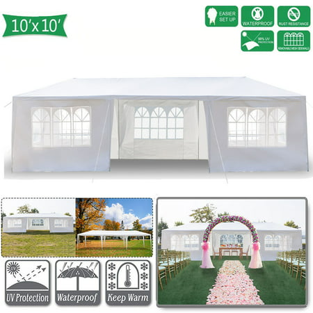 Hommoo 10' x 30' Canopy Tents for Outside, Easy Pop up Canopy Tent for Camping with 7 Removable Sidewalls, Waterproof Folding Canopy Wedding Tent for Party Beach Commercial Event Gazebo Pavilion BBQ