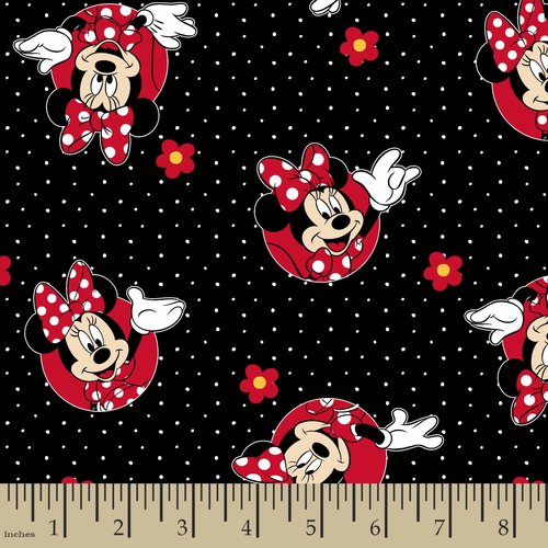 Disney Minnie Flowers Polka Dots Fabric by the Yard