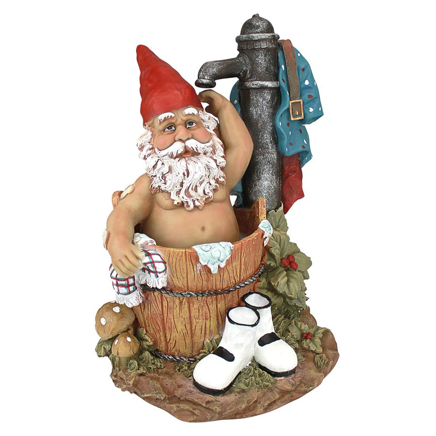 Tubby the Bathing Garden Gnome Statue by Design Toscano