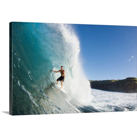 Great BIG Canvas MakenaStock Media Premium Thick-Wrap Canvas entitled Hawaii, Maui, Kapalua, Surfer rides a wave at Honolua Bay