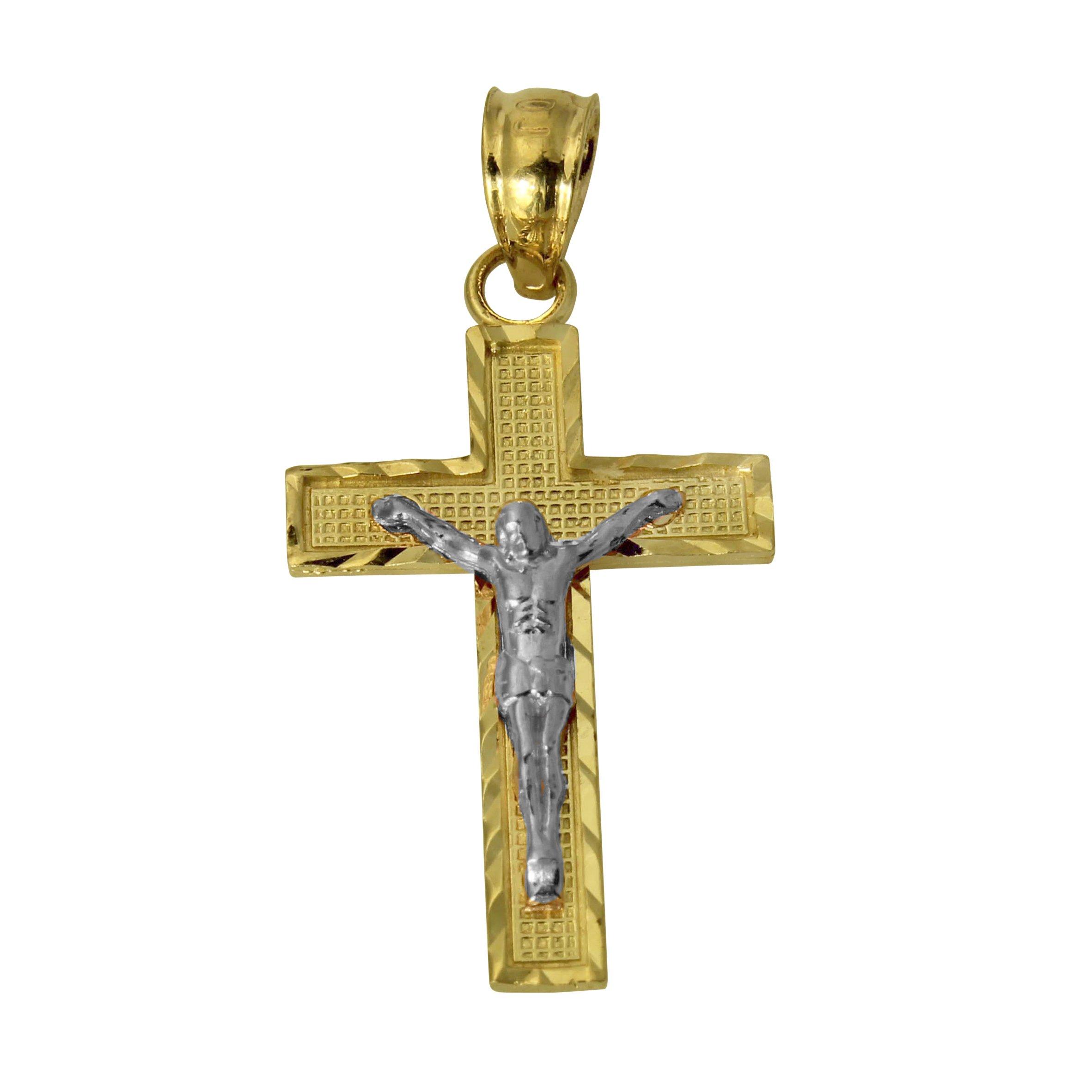 14K Yellow Gold Small Jesus Cross Crucifix Diamond Cut Pendant Baby /& Children
