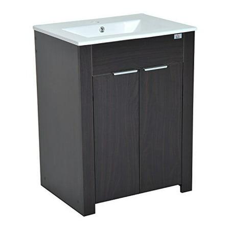 "24"" Modern Full Size Ceramic Sink Vanity Storage Cabinet- Dark Coffee Woodgrain"