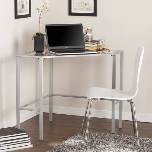 Southern Enterprises Kalel Metal/Glass Corner Desk