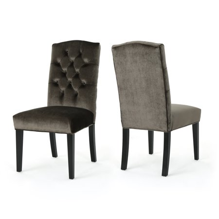 Dione Traditional Crown Top New Velvet Dining Chairs, Set of 2, Grey and Dark Brown ()