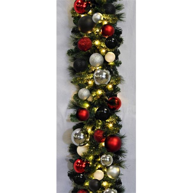 Queens of Christmas WL-GARSQ-09-MOD-LWW 9 ft.  Pre-Lit Warm White Sequoia Garland Decorated with The Modern Ornament