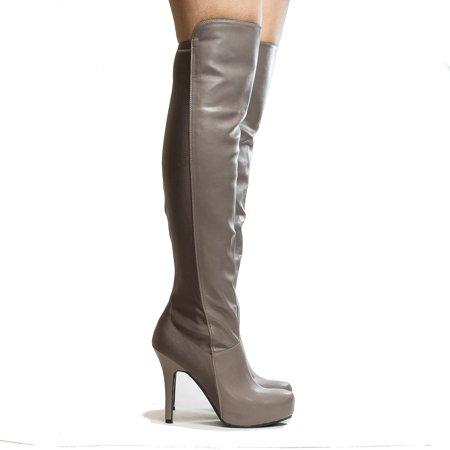 Coexist by Anne Michelle, Almond Toe Over The Knee Hidden Platform Stiletto High Heel Boots