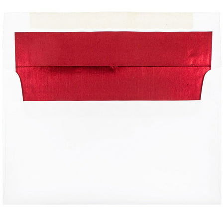 JAM Paper A9 Foil Lined Envelopes, 5 3/4 x 8 3/4, White with Red Foil Lining, 50/pack