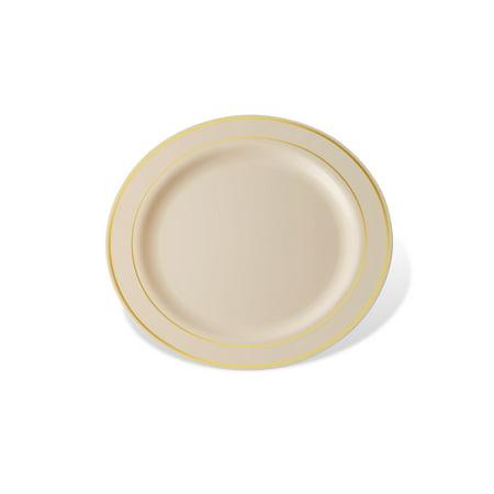 Host & Porter Gold Rim Plastic Dessert Plates, 6