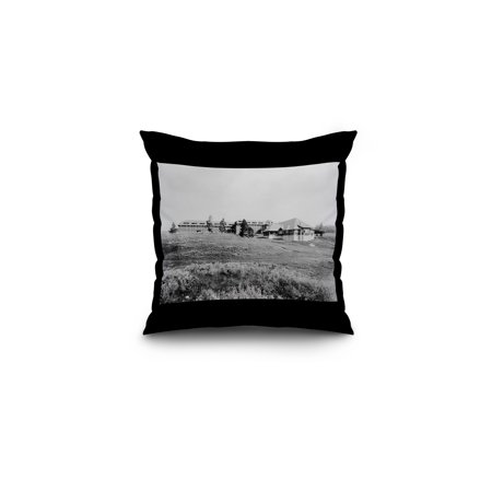 Grand Canyon Hotel At Yellowstone National Park Photograph  16X16 Spun Polyester Pillow  Black Border