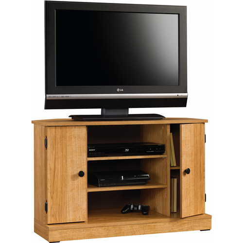 "Sauder Beginnings Corner TV Stand for TVs up to 40"", Highland Oak Finish"
