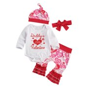 Baby Valentine´s Day Suit Round Neck Long Sleeve Heart Print Romper Trousers Suit