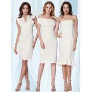 Ever-Pretty Women's Sexy Ruffled V-Neck Sheath White Cocktail Party Casual Midi Dresses for Women 05967 US 4