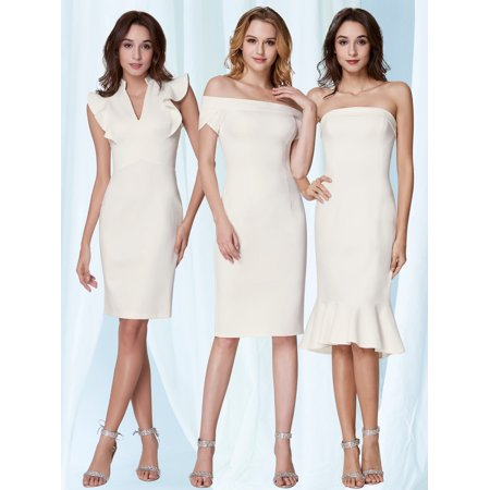 Ever-Pretty Women's Sexy Ruffled V-Neck Sheath White Cocktail Party Casual Midi Dresses for Women 05967 US 4 ()
