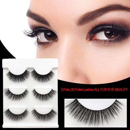 SHIDISHANGPIN 3 Paires Cils Mink 3D Faux Cils Mélangez Style Maquillage épais Extension de Cils Volume Naturel Doux Faux Cils - image 5 of 6