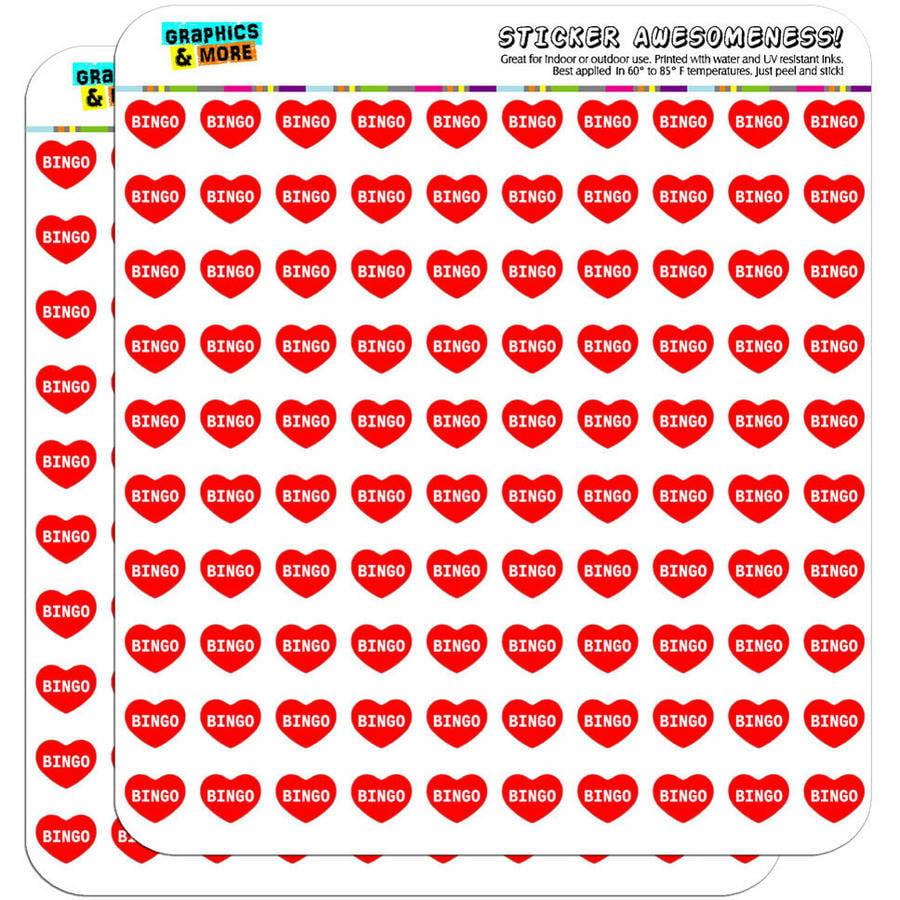 "I Love Heart Bingo 200 1/2"" (0.5"") Planner Calendar Scrapbooking Crafting Stickers"