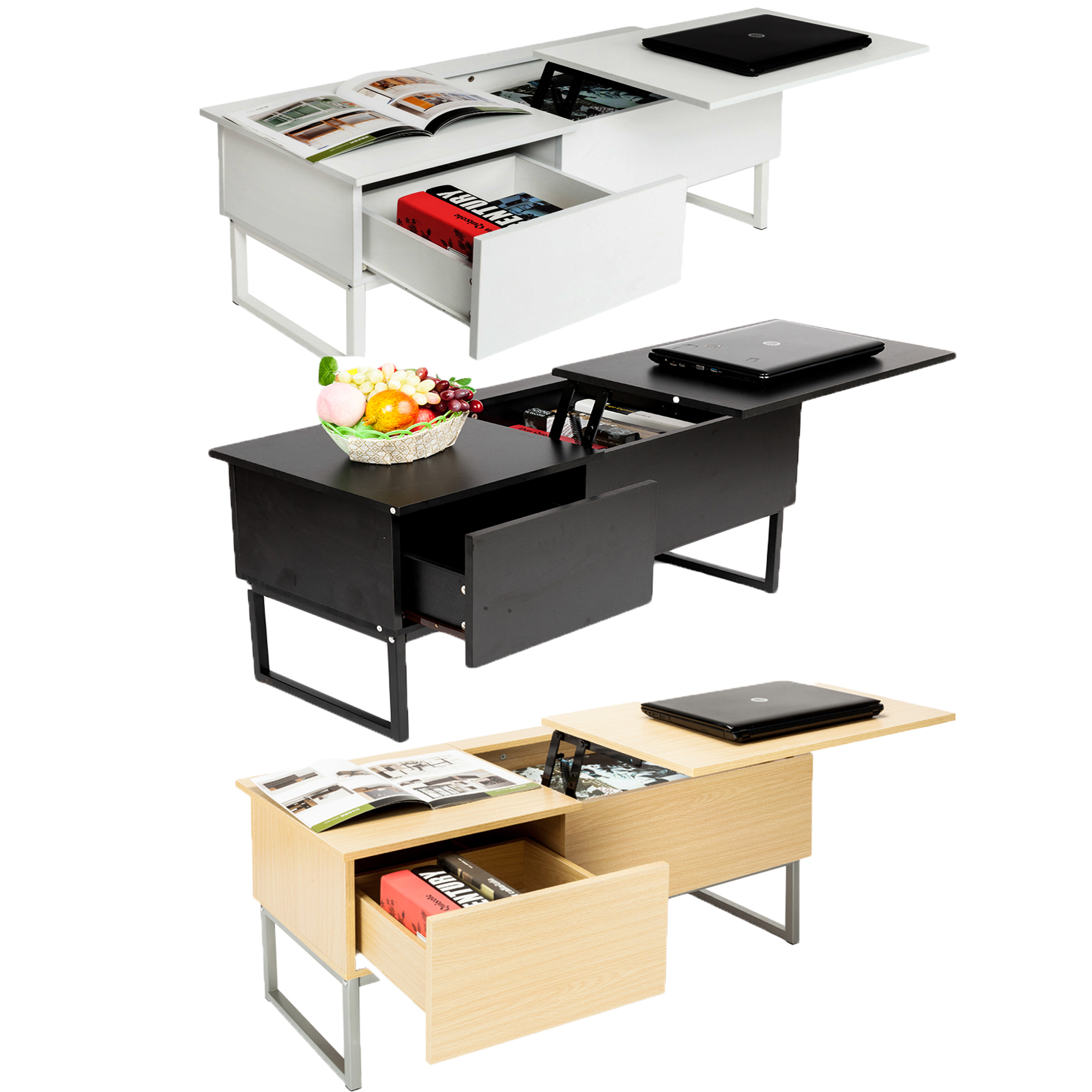 Zimtown Lift Top Coffee Table w/ Hidden Compartment and Storage Drawer Furniture Multi-Color