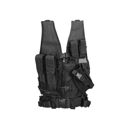 Lancer Tactical Nylon Youth Cross Draw Vest With Holster ( Black ) Glock Cross Draw Holster