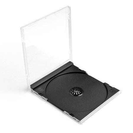 CD Jewel Cases 100 Pack 10mm Thick Standard Single Clear DVD Movie Music Blu-ray Disc Media Storage Boxes Collectible Holder Organizer with Black Tray