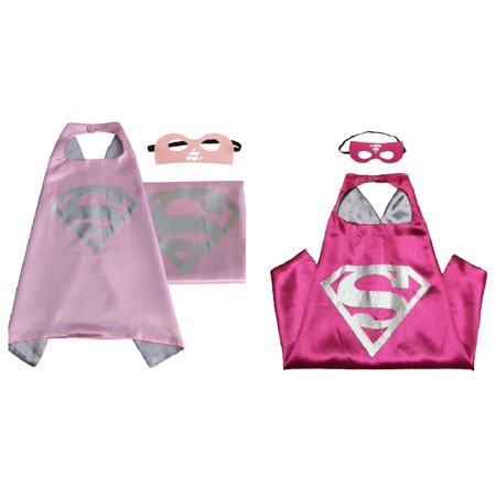 Two Supergirl Costumes - 2 Capes, 2 Masks with Gift Box by Superheroes - Super Girl Mask
