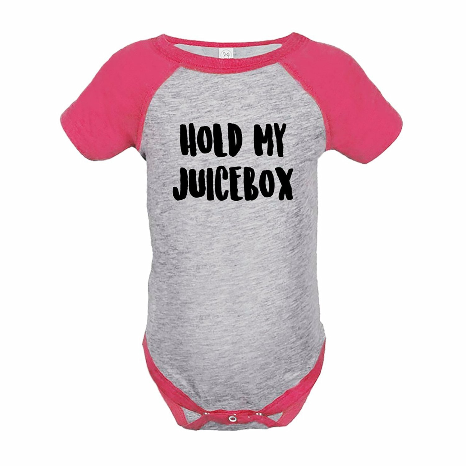 7 ate 9 Apparel Funny Kids Hold My Juicebox Baseball Onepiece Pink - 12 Months