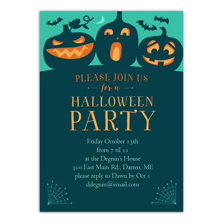 Personalized Halloween Invitation - Spooky Bash - 5 x 7 Flat - Handmade Halloween Invitations
