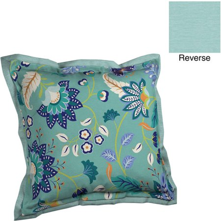 Better Homes And Gardens Deep Seat Pillow Back With Flange Outdoor Cushion Aqua Tossed Leaves