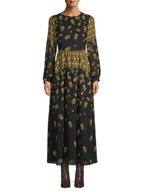 Scoop Blouson Sleeve Maxi Dress Floral Print Women's