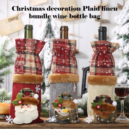 Brand New Wine Bottle Decoration Burlap Snowman Bottle Cover Wine Cover Beam Port - image 2 of 8