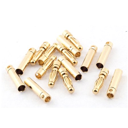 RC Model Battery 4mm Male Female Banana Plugs Connector Gold Tone 8 Pairs ()