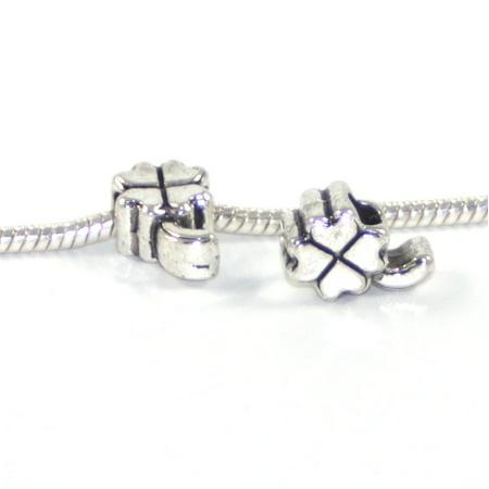 3 Beads - Lucky Four Leaf Clover Silver European Bead Charm -